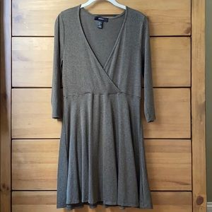 Forever 21 Plus V-Neck Midi Olive Green Dress / 1X